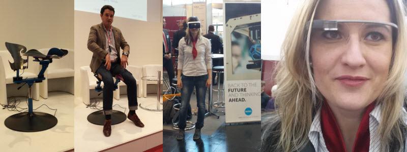Futuristischer Stuhl - Virtual-Reality-Brille und die Google Glasses