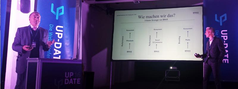 ABAKUS auf der Up-Date Konferenz 2016 - Keynote-Speaker auf der Bühne und der Vortrag von Modelabel BRAX