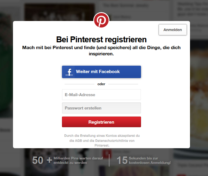 Registrieren bei Pinterest