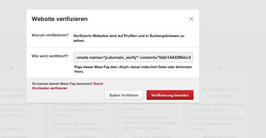 Pinterest Website verifizieren