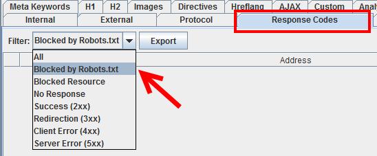 "Abb.4: Elemente ""blocked by robots.txt filtern"""