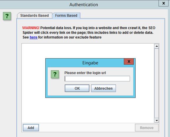 Abb.6: Crawling von Passwort geschützten Bereichen