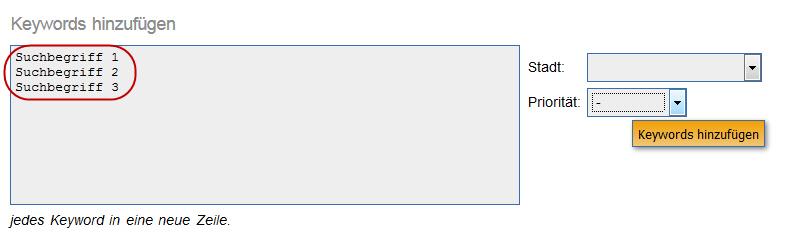 Keyword Monitor: Keywords hinzufügen