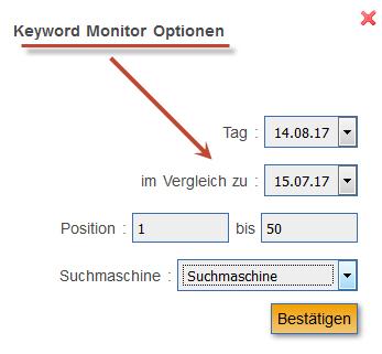 Keyword Monitor: Optionen