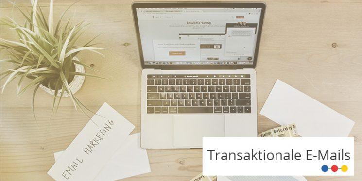 Arbeitsplatz mit geöffnetem MacBook, Pflanze und Briefumschlägen